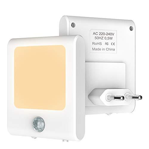 Babyliya LED Nachtlicht Steckdose mit Bewegungsmelder, Automatisch ON/OFF Warmweiß Nachtlichter, Stromsparendes Dimmbar Lampen für Flur, Küche, Treppe, Kinderzimmer, Wohnzimmer, Schlafzimmer, 2 Stück