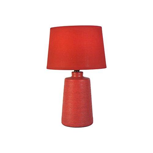 Homea Keramik Tischlampe 31,5cm Tischleuchte Stein Optik (Rot)