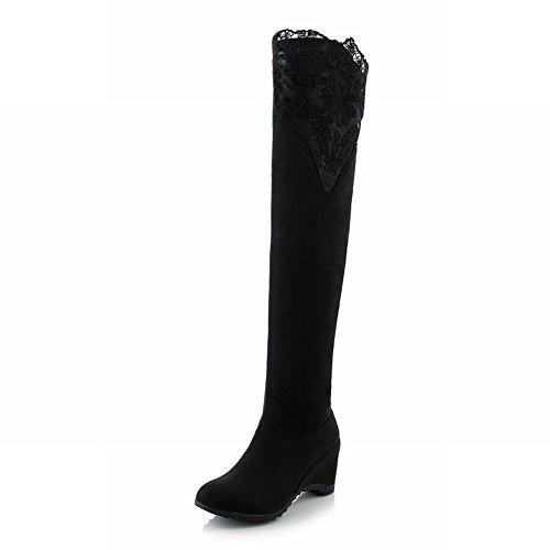 Minetom Femme Automne Élégant Dentelle Décoration Bottes Longues Genou Haute Bottes Talon Plat Over Knee Chaussures Noir