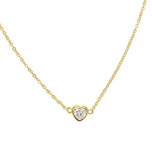 bfeed2bb6dde ZUXIANWANG Collar De Mujer,925 Joyería De Plata Brillante Cz Zircon Amor  Romántico Corazón Señoras Collares Colgantes 925 Link Chain Cz Joyería ...