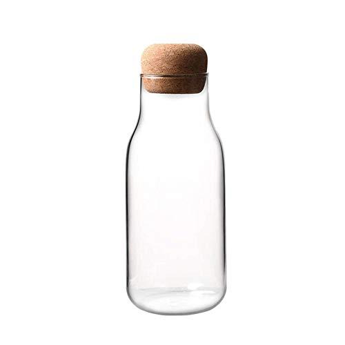 lasbehälter mit Korkenstopfen Vorratsdosen aus Borosilikatglas Vorratsgläser Glasflaschen für Milch Saft-150ML/300ML/700ML ()