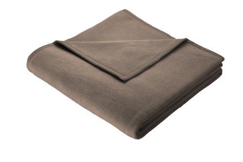 Biederlack Wohn- und Kuscheldecke, 86 % Polyacryl (Dralon), Veloursband-Einfassung, 150 x 200 cm, Graubraun, Thermosoft, 575623