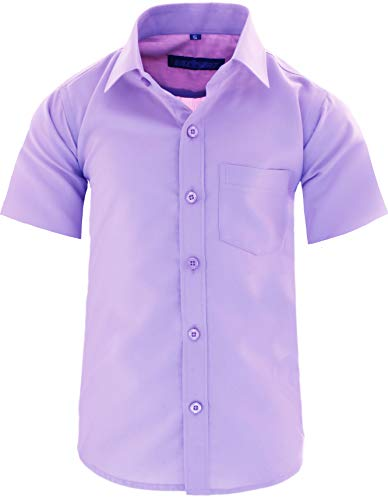 GILLSONZ A0 vDa New Kinder Party Hemd Freizeit Hemd bügelleicht Kurz ARM mit 9 Farben Gr.86-158 (122/128, Hell-lila)