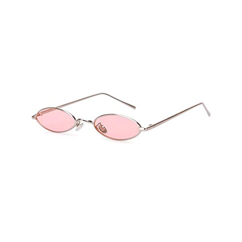 QDE Sonnenbrillen Small Oval Sunglasses for Women Men Retro Metal Glasses Transparent Red Pink Yellow Lens Uv400 Women's Sunglasses,Pink