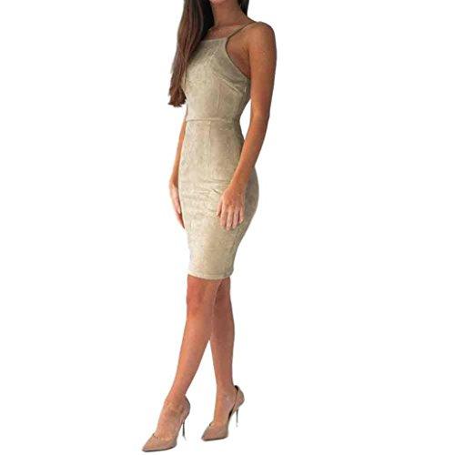 Heiß! Damen Kleider Yesmile Frauen Elegant Asymmetrisch Perspektive Ärmelloses Sexy Maxikleid Hoher Gabel Kleid Kragen Bodycon Kleid Enges Kleid Frauen Mode Abendkleid Partykleid (M, Khaki)