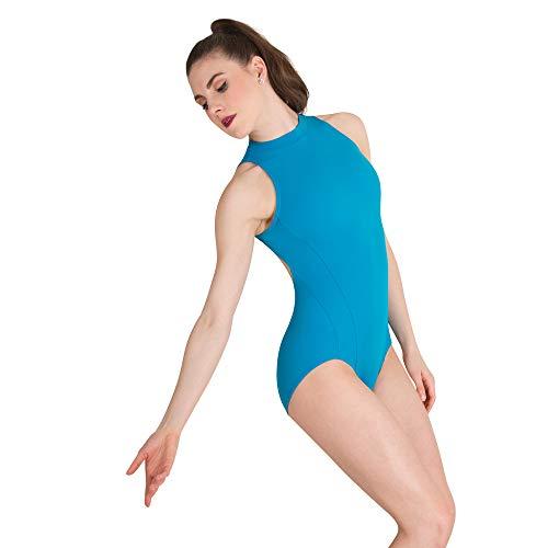 Body Wrapper Womens Mock Neck Open Back Leotard (P1210) -Ocean Blue -L (Neck Leotard Mock)
