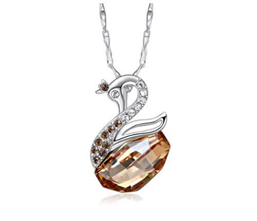 Zxh collana con cigno in argento sterling s925 con accessori per ciondolo in cristallo con elementi swarovski,b