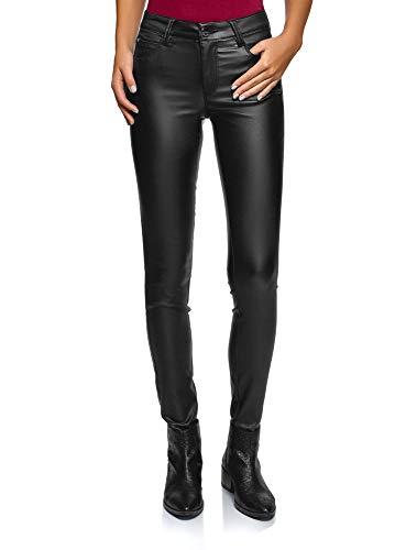 oodji Ultra Donna Jeans Elasticizzati con Effetto Pelle, Nero, 27W / 32L (IT 42 / EU 38 / S)