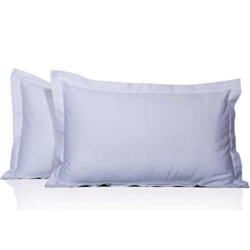 400 Thread Count 2 Pc Pillow Shams 100% Egyptian Cotton Solid Pattern All Size & Colors ( Queen , White) by Stylish Bedding