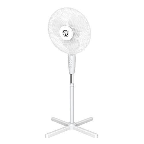 Famgizmo 40cm Standventilator - automatische Oszillation um 120 °, Abschaltfunktion, 45W, Ventilator, 3 Geschwindigkeitsstufen, höhenverstellbarer Standfuß,Weiß