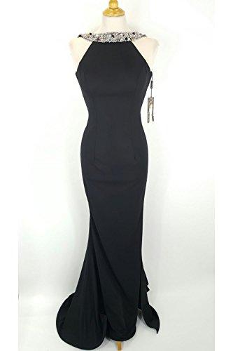 pia-michi-1221-noir-longue-robe-avec-perle-argent-detaillant-uk-12-us-8