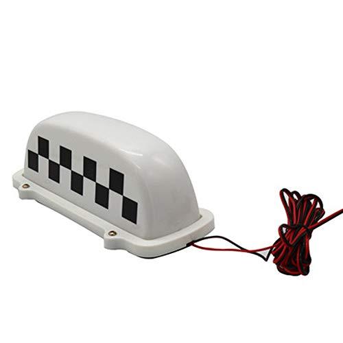 Herchr Kurzes weißes Karo 12 V LED Taxi Top Light, 3 m Line Plug, weiß (Top Light Taxi)
