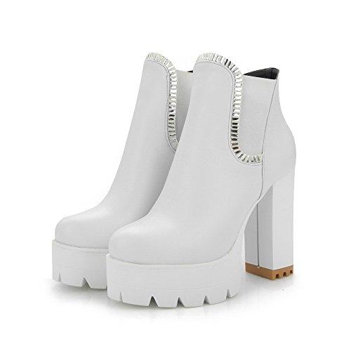 AllhqFashion Damen Niedrig-Spitze Rein Ziehen Auf Hoher Absatz Pu Rund Zehe Stiefel Weiß