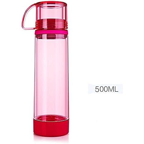 Botella de doble cristal al aire libre deportes botella de agua coche taza CON TAPA 500ml casa viaje negro rojo , red , 500ml