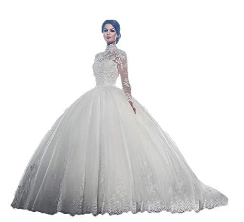 WJZ Brautkleid-Hochzeitskleid Der Luxuxspitze Eine Schulter Langes Weißes Hochzeitskleid,Weiß,USA:...