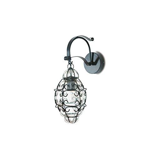 Lanterna a braccio da esterno in ferro battuto cm 44x17