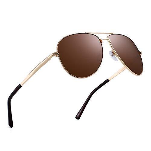 JIM HALO Polarisiert Flieger Sonnenbrillen Retro Metall Fahren Pilot Brille Damen Herren(Gold/Polarisiertes Braun)