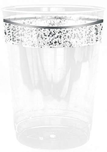 Decorline- Verres jetable 300ml -Transparent avec Bord en Argent, Plastique Rigide - Vaisselle de Luxe à Usage Unique- Collection Confetti -Party-Jetable -10 Pièces