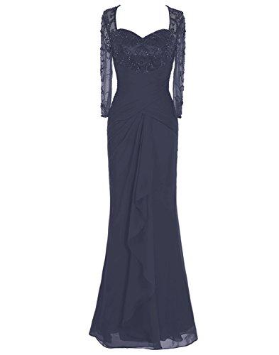 Dressystar Robe de femme,Robe de cérémonie/ gala longue,à paillettes,manche longues en Mousseline,tulle Marine