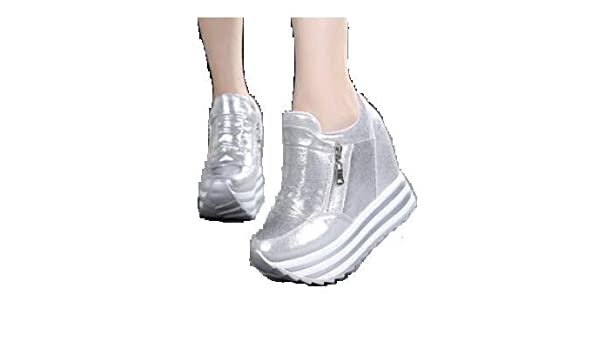 c39350f129ab Vikson Formal Party Wear Stylish and Sexy SILVER Wedges Platform Side  Zipper SILVER Ankle Shoes for Girls and Women Size 5 (EU36)  Amazon.in   Beauty