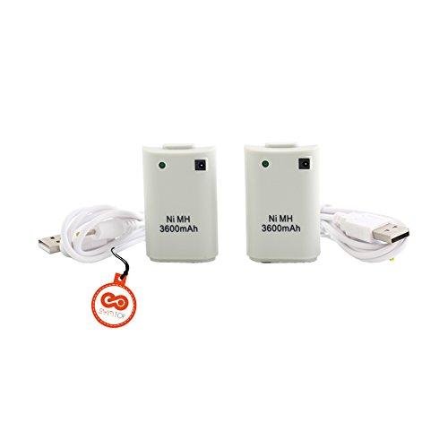 Batería Recargable para Xbox 360 Mando Remoto de Control Controlador de 3600mAh con Cable USB Pack de 2/Blanco