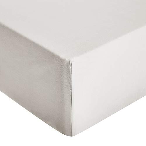 comprar AmazonBasics - Sábana ajustable de microfibra premium (150 x 200 cm), gris claro