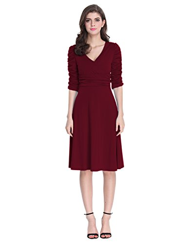 Sue&Joe Women's 3/4 Sleeve Dress Ruched Waist Classy V-Neck Casual Cocktail Dress, Burgundy, Tag size L=UK size 14