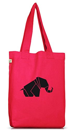 Shirtstreet24, Origami Elefant, Tier Natur Jutebeutel Stoff Tasche Earth Positive (ONE SIZE) Hot Pink