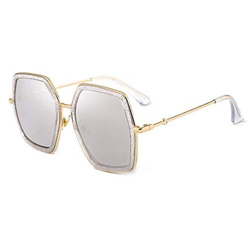 Siwen Neue über größe doppel Farben Rahmen Frauen Platz Sonnenbrille Mode perleffekt Damen gradientenlinse Shades uv400,Silberspiegel