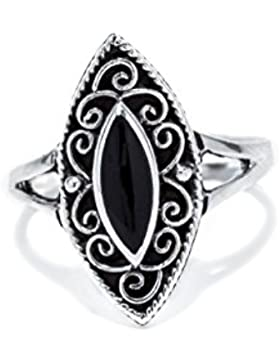 WINDALF Ring CISCANDRA h: 2 cm mit schwarzem Onyx 925 Sterlingsilber