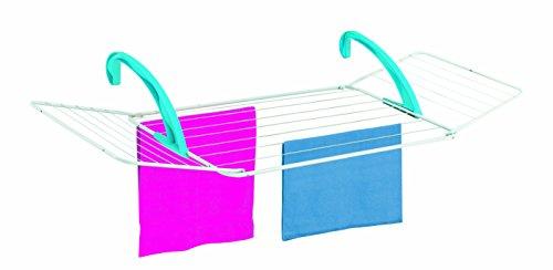 Casabriko Wäscheständer für Balkon 180x55x4.5 cm weiß/azurblau