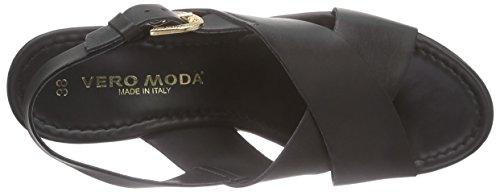 VERO MODA Vmflica Leather Sandal Damen Clogs Schwarz (Black)