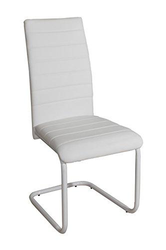 Silla de acero Suarez Merak, 4 unidades, color blanco, dimensiones 55 x 43 x 98 cm (C385-BB)