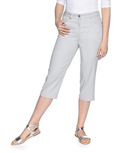 Bexleys by Adler Mode Damen Capri-Hose aus Baumwoll-Stretch - Sommerhose, Stoffhose, Dreiviertelhose, Bermuda Shorts Silbergrau 46 -