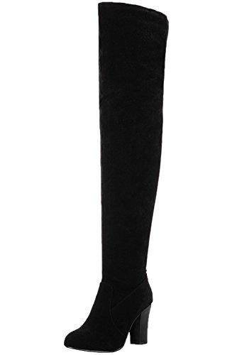 BIGTREE Knie Hohe Stiefel High Heel Damen Herbst Winter Casual Oberschenkel Stiefel Von Schwarz 41 EU (Stiefel Damen Knie Hohe)