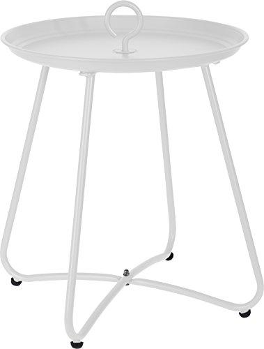 Beistelltisch Couchtisch Metalltisch Sofatisch Tisch mit Haken C350/C360/C370 (Weiß C350)