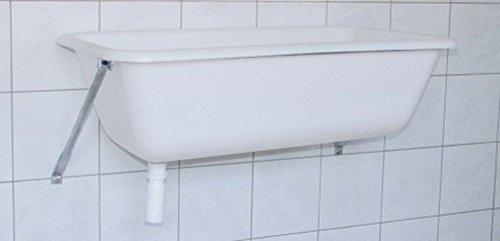 Spülwanne 65 l mit Wandkonsole Spülbecken Spülwanne Waschtrog Waschwanne Badewanne auch für Hunde Handwaschbecken Waschbecken zum Anbringen an der Wand Wandhalterung
