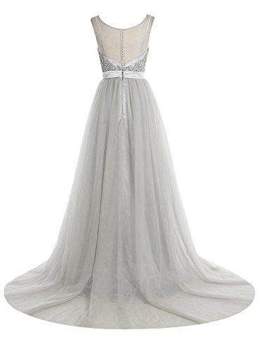 Bbonlinedress Robe de cérémonie Robe de bal emperlée forme princesse traîne moyenne Argenté