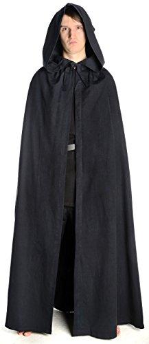 HEMAD Medioevo mantello con cappuccio cotone – Struttura in lino nero  marrone rosso beige nero Taglia c511acbc206