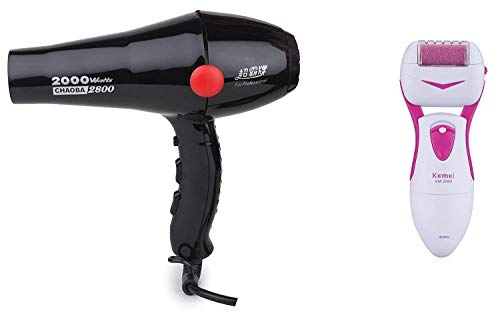 CHAOBA 2800 Professional Hair Dryer 2000 Watts with  FREE Kemei Foot Hard Skin Remover