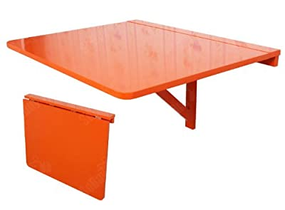 Promotion -50% ! SoBuy® Wall-mounted Drop-leaf Table, Folding Dining Table Desk, Solid Wood Table, 75x60cm, Color: Orange, FWT01-O produced by SoBuy - quick delivery from UK.