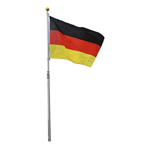 Outsunny® Alu Fahnenmast Flaggenmast Deutschlandfahne Staatsflagge Nationalflagge Fahne L150 x W90cm 6,5/4/2m mit/ohne Mast (L150 x W90cm/ 6,5m)