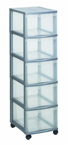 Rotho Schubladenschrank OPTIMO Tower, flexibles und stabiles Schubladensystem mit 5 Schüben aus Kunststoff, silbernes Gehäuse und transparente Schubladen, ca. 38,5 x 30 x 85,3 cm -