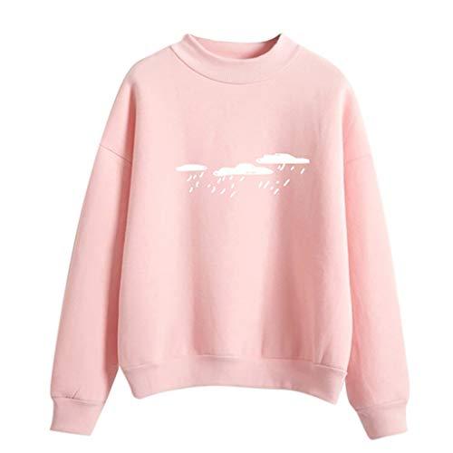 (BESSKY Hoodie Sweatshirt Damen Frauen Kapuzenpullover mit Hohem Kragen Feste Sweatshirt Pullover Tops Slim Fit PulloverKleid)