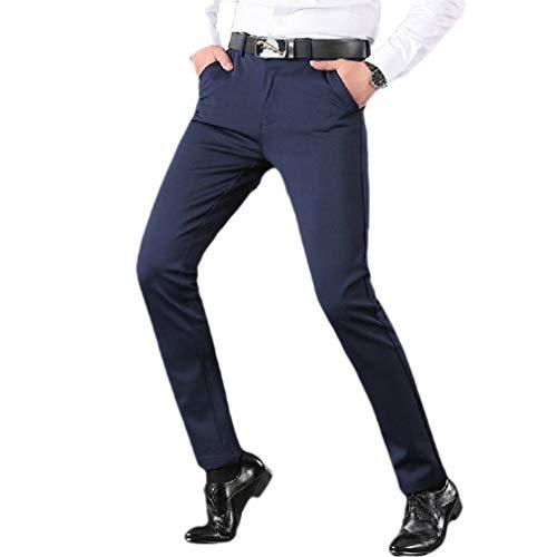 CuteRose Men Business Loose Fit Stretch Wrinkle Resistant Plain-Front Pant Navy Blue 32 -