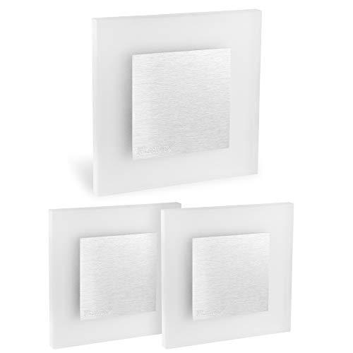 3 Stück LED Wand Einbau-Leuchte ideal als Treppen-Licht - Moderne Form aus Edelstahl & Glas für den Einbau in 60mm Dosen - 3 Led-wand