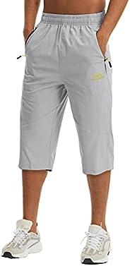 LASIUMIAT Men's 3/4 Capri Pants Outdoor Sports Hiking Cropped Shorts with Zipper Poc