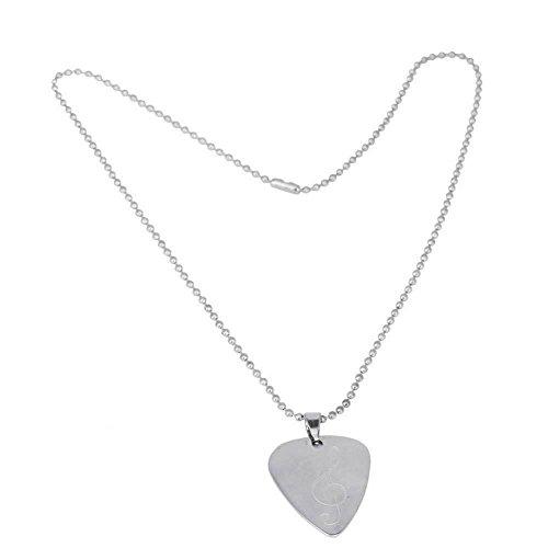 Dilwe Gitarren Plectrum Halskette, Klassische Metall Bass Plektrum Halsketten für Geschenke(E)