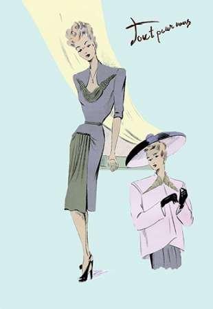 Feelingathome-Leinwand-Bild-Hoch-entwickelte-Kleid,-Hut-und-Jacke,-1947-cm50x33-Kunstdruck-auf-Leinwand