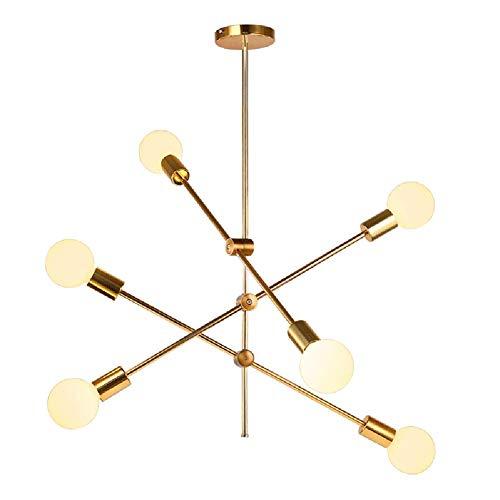 Sputnik Para De Iluminación Techo Lámparas Dorada Medio Araña Moderna 6 Siglo Latón Cepillado Sala LucesColgante iOXZuPk